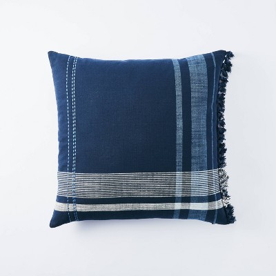 Yarn Dye Plaid Square Throw Pillow Navy - Threshold™ designed w/ Studio McGee