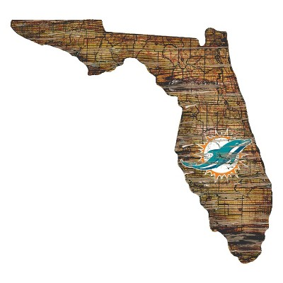 "NFL Miami Dolphins 12"" State Map Wood Sign"