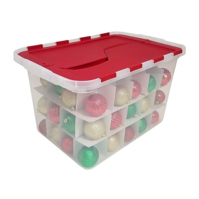 Homz Ornament Box with Dividers - Clear with Red Flip Lid