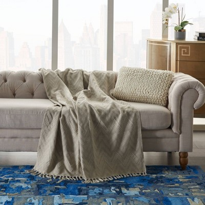 "50""x60"" Knit Chevron Throw Blanket Natural - Nourison"