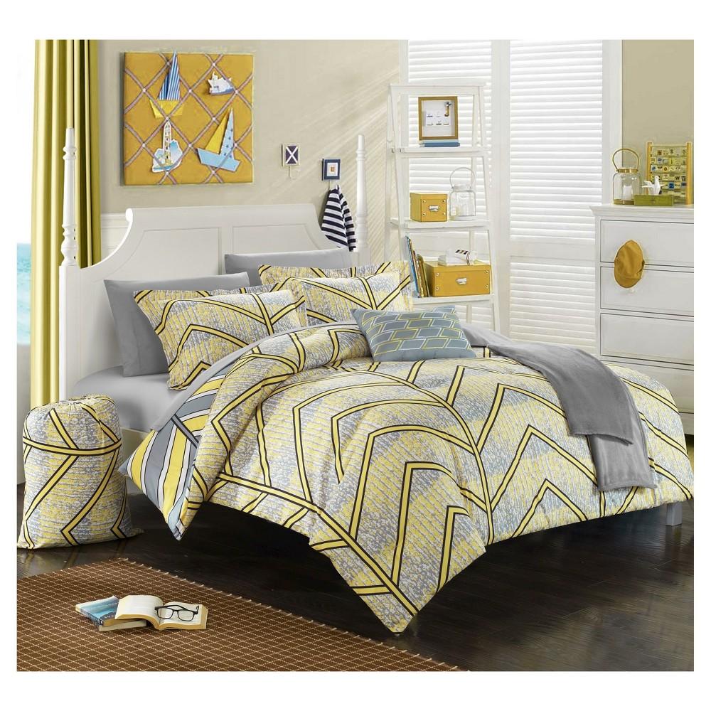 Amaretto Chevron and Geometric Printed Reversible Comforter Set 8 Piece (Twin XL) Yellow - Chic Home Design