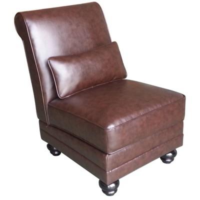 Copenhagen Bonded Leather Slipper Chair Chestnut Brown - Serta