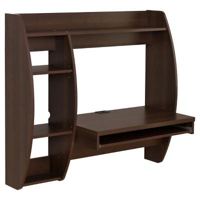 Hubbard Floating Desk with Storage Espresso - Prepac
