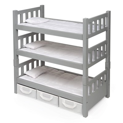 Badger Basket 1-2-3 Convertible Doll Bunk Bed with Baskets and Free Personalization Kit  - Executive Gray