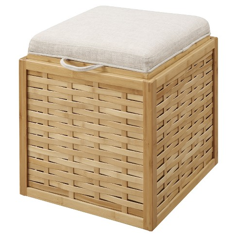 Bamboo Ottoman, Weave - Bamboo / Beige - Convenience Concepts - image 1 of 4