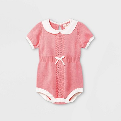Baby Girls' Bubble Sweater Romper - Cat & Jack™ Paris Pink 0-3M