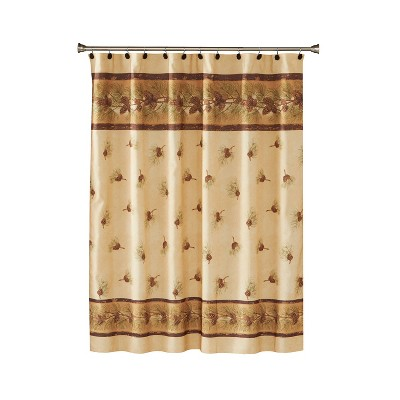 Pinehaven Fabric Shower Curtain Beige & Brown - Saturday Knight Ltd.