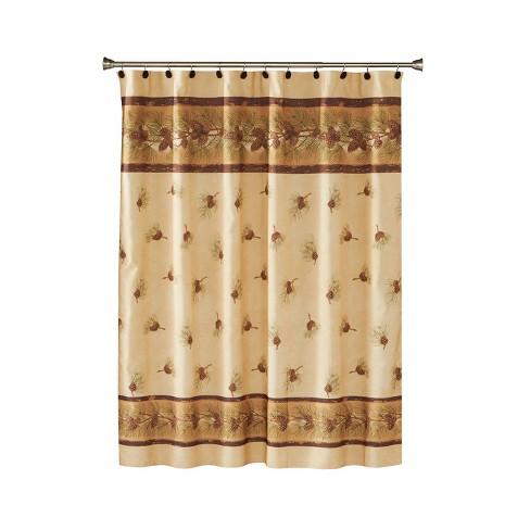 Pinehaven Fabric Shower Curtain Beige & Brown   Saturday Knight
