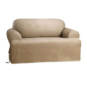 Cotton Duck Tcushion Loveseat Slipcover Linen - Sure Fit