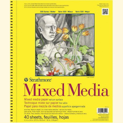 Strathmore 300 Series Mixed Media Pad, 11 x 14 Inches, 90 lb, 40 Sheets