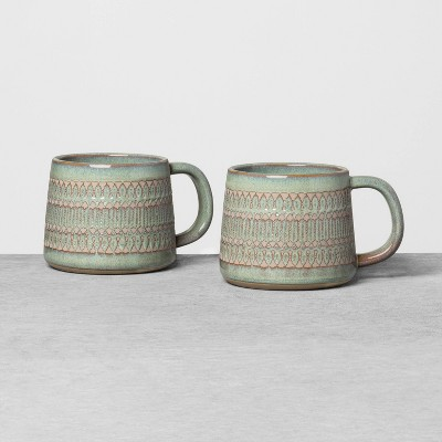 2pk Textured Mug Set Green - Hearth & Hand™ with Magnolia