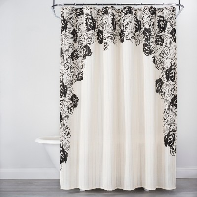 Floral Print Edged Shower Curtain White/Black - Opalhouse™