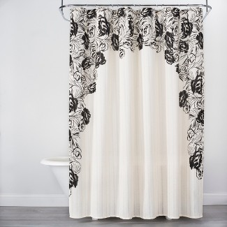 Floral Print Edged Shower Curtain White/Black - Opalhouse™