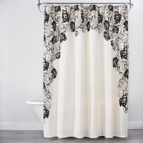 Floral Print Edged Shower Curtain White Black