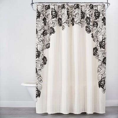Floral Print Edged Shower Curtain White/Black   Opalhouse™ : Target