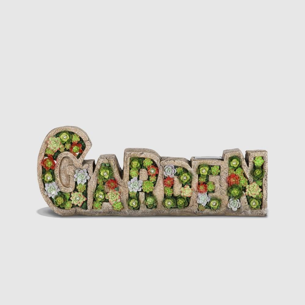 "8"" Resin Solar Garden Succulent Marquee Sign - Exhart"