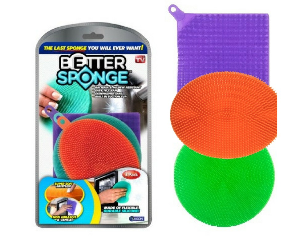 Image of As Seen on TV 3pk Textured Silicone Sponges, Multi-Colored