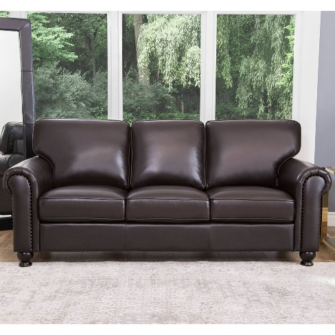 Darlington Top Grain Leather Nailhead Sofa Brown - Abbyson Living ...