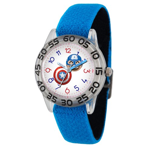 Boys' Marvel® Emoji Captain America Clear Plastic Time Teacher Watch - Blue - image 1 of 2