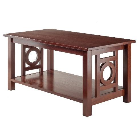 Ollie Coffee Table Deco Panel With Shelf Walnut Finish Winsome