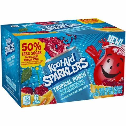 Kool-Aid Sparklers Tropical Punch Blast - 6pk/7.5 fl oz Cans - image 1 of 1