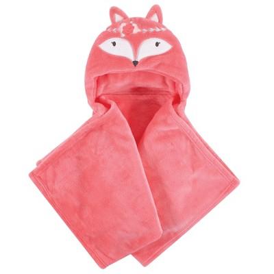 Hudson Baby Infant Girl Hooded Animal Face Plush Blanket, Boho Fox, One Size