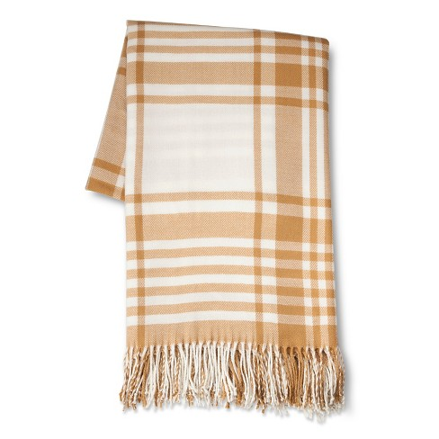 "Oversize Plaid Throw Brown (50""X70"") - Threshold™ - image 1 of 3"