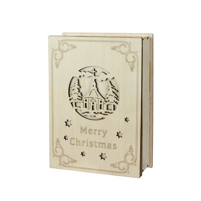 """Roman 8.25"""" Beige and Red LED Lighted Cut Merry Christmas Book Tabletop Decoration"""