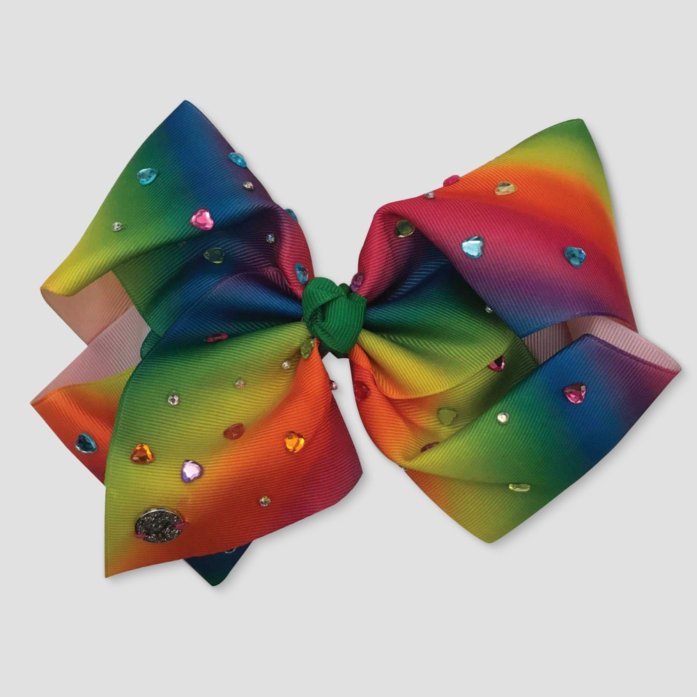 Girls' JoJo Siwa Rainbow with Heart Studs Bow Hairclip