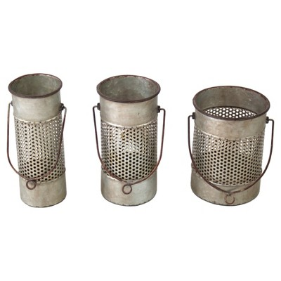 Metal Decorative Canister Set Gray 3pk - VIP Home & Garden