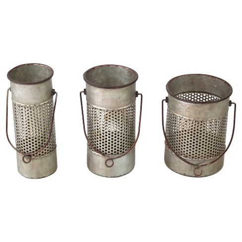 Metal Decorative Canister Set Gray 3pk - VIP Home & Garden - image 1 of 2