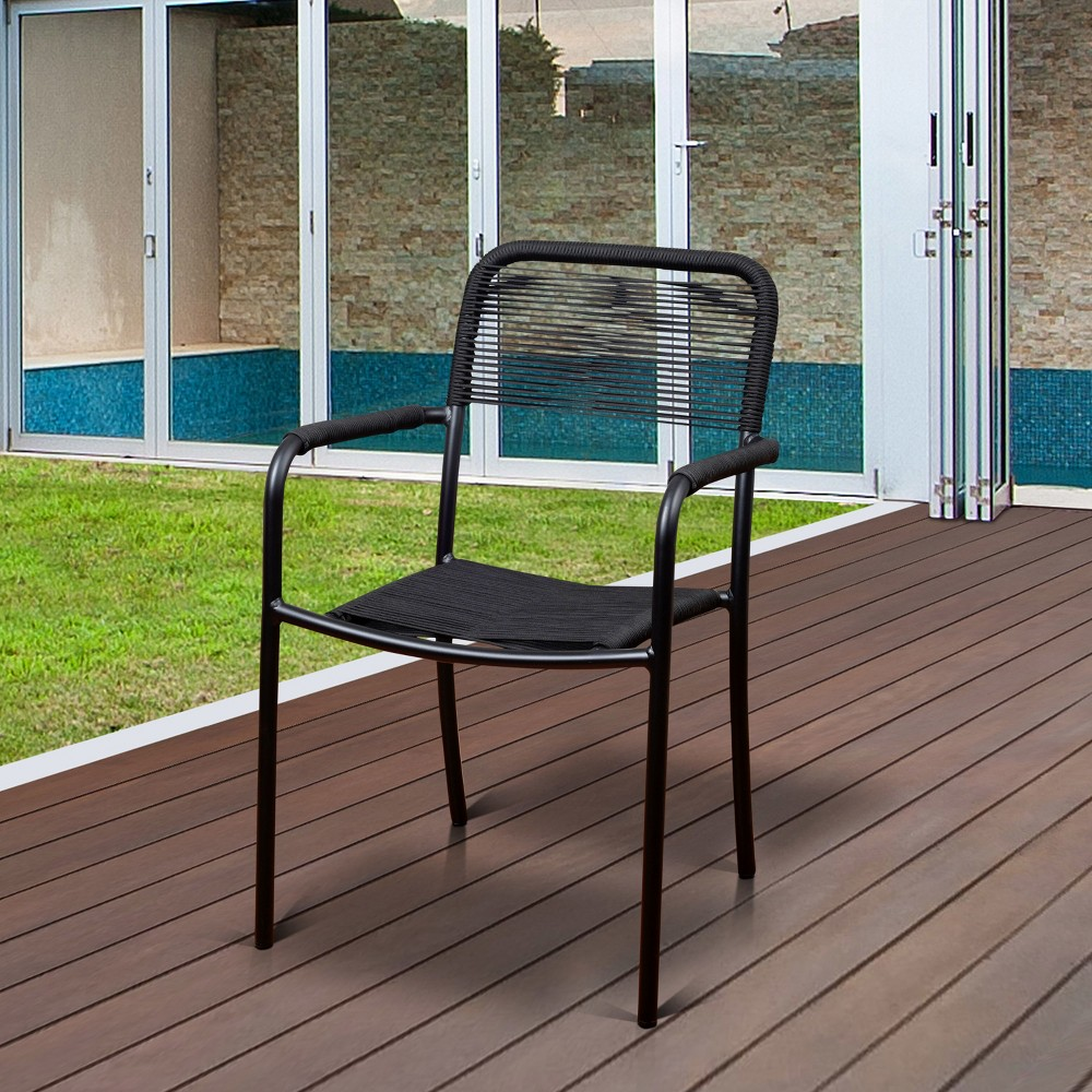 4pk London Aluminum/Rope Stackable Patio Dining Armchair Set Black - Atlantic