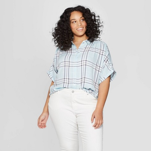 17b177e876ccc Women s Plus Size Striped Short Sleeve Camp Shirt - Universal Thread™ Blue    Target