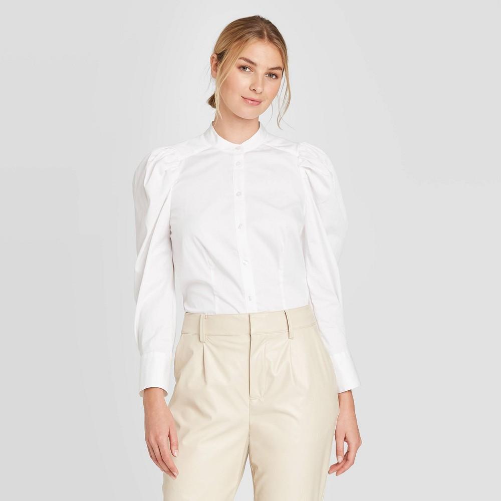 Vintage Blouses, Tops & Retro Shirts Womens Puff Long Sleeve Button-Down Blouse - Prologue White XXL $17.49 AT vintagedancer.com