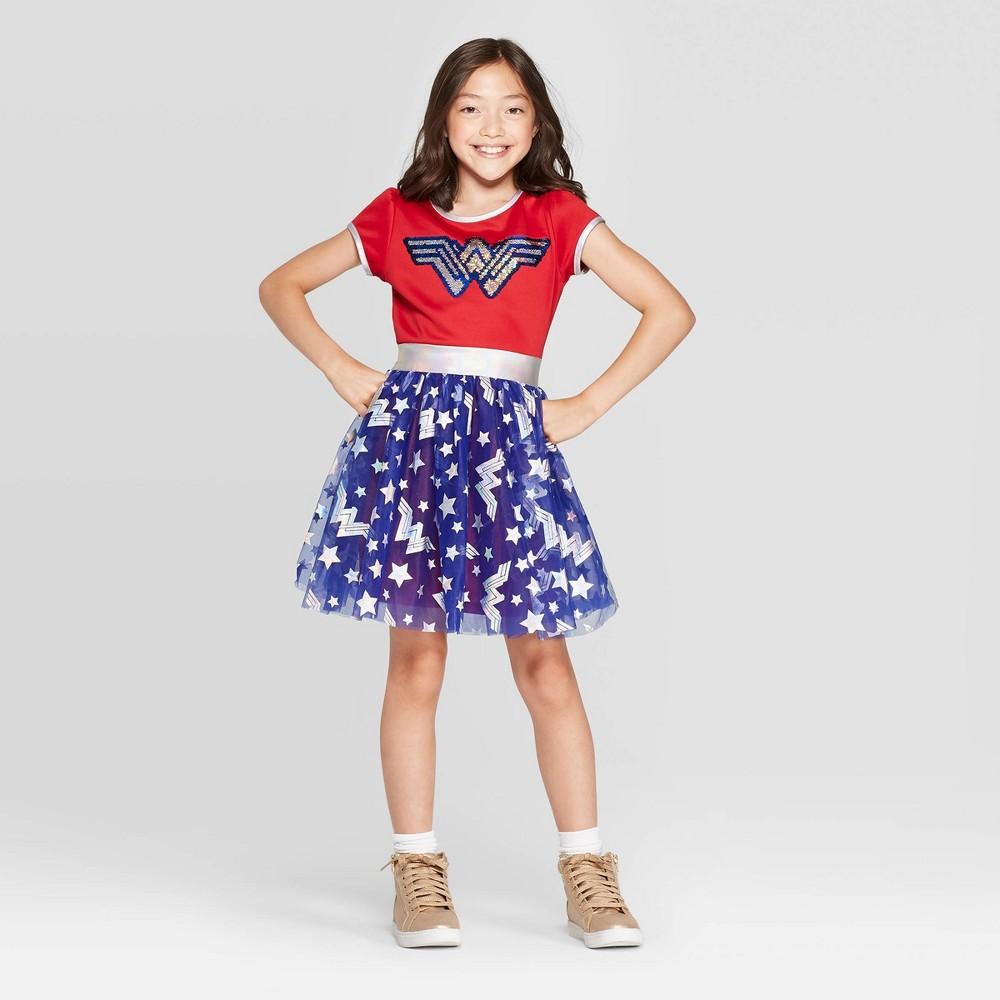 Image of petiteGirls' Wonder Woman Flip Sequin Short Sleeve Dress with Cape - Red/Blue XXL, Girl's
