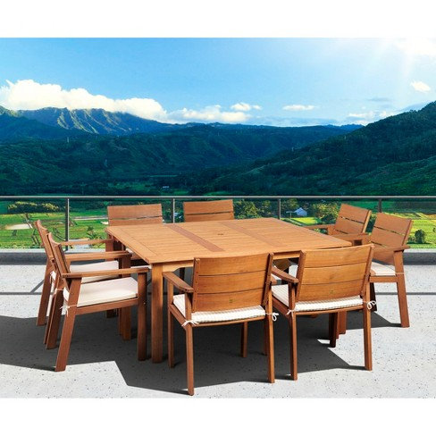 Saint Paul 9 Piece Wood Square Patio Dining Furniture Set