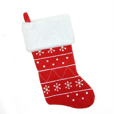 """Northlight 19"""" Red and White Embroidered Snowflake Cuffed Christmas Stocking"""