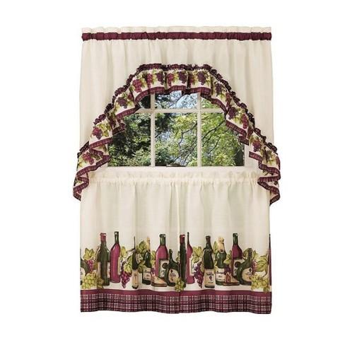 GoodGram Chardonnay Complete Kitchen Curtain Tier Pair and Valance Set - image 1 of 1