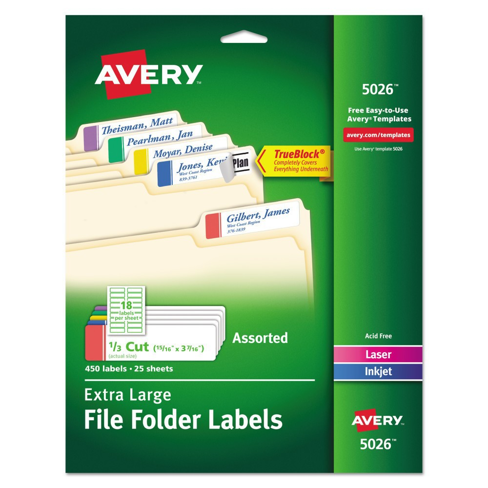 Image of Avery Extra-Large 1/3-Cut File Folder Labels - White/Assorted (450 Pack)