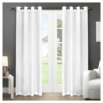 "Set of 2 84""x54"" Chatra Faux Silk Grommet Top Window Curtain Panel Winter - Exclusive Home"