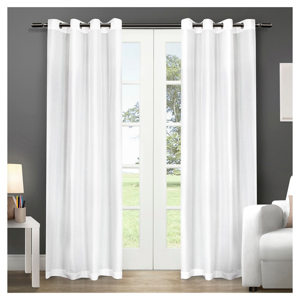 Chatra Faux Silk Grommet Top Window Curtain Panel Pair Winter (54