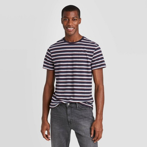 Men's Multi Striped Athletic Fit Short Sleeve Novelty Crew Neck T-Shirt - Goodfellow & Co™ Ink Blue - image 1 of 2