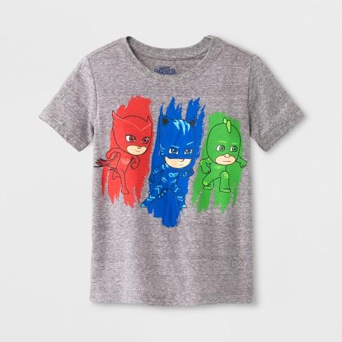 a60be4bd4 Toddler Boys' PJ Masks Short Sleeve T-Shirt Crew Neck - Grey : Target