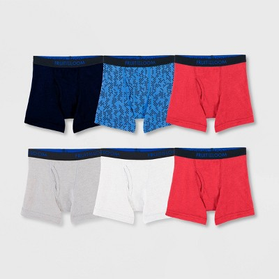Fruit of the Loom Boys' 5 + 1pk Breathable Cotton Boxer Briefs - Colors Vary