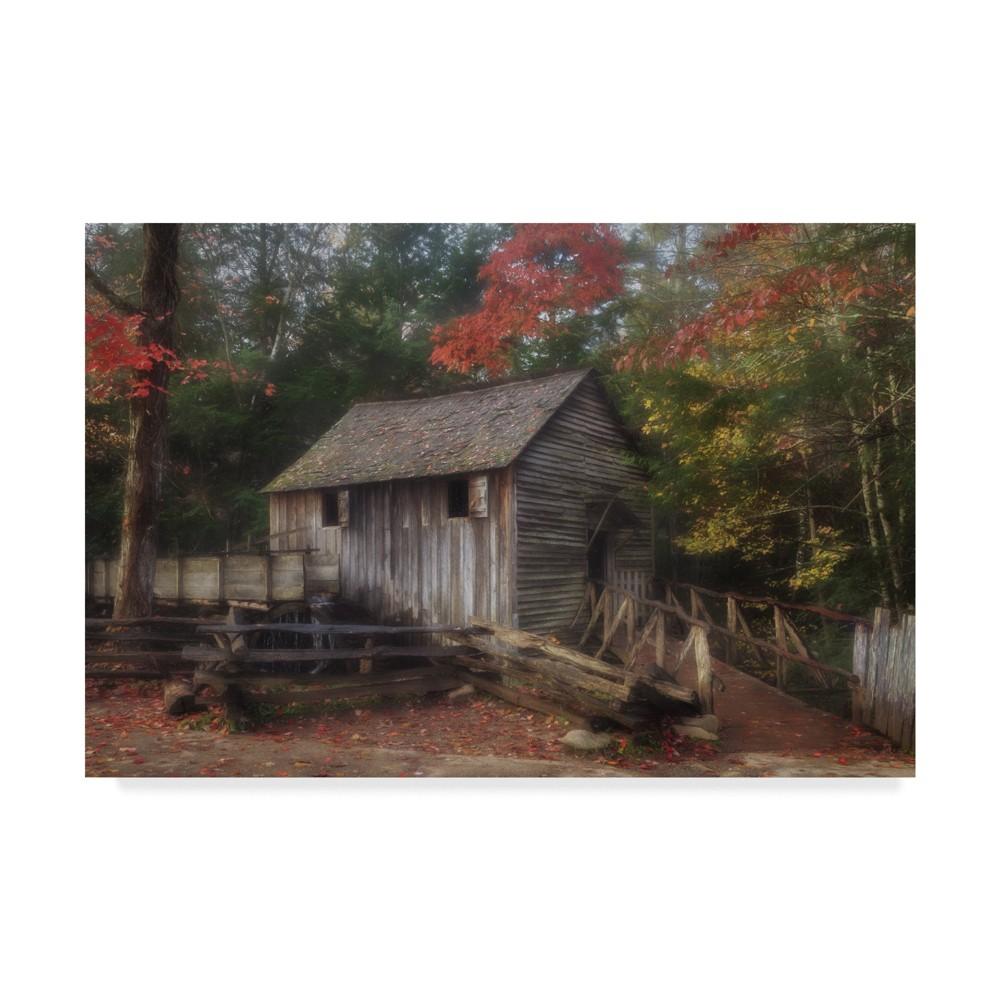 "Image of ""12"""" x 19"""" Galloimages Online 'Cades Cove Grist Mill' Canvas Art - Trademark Fine Art"""