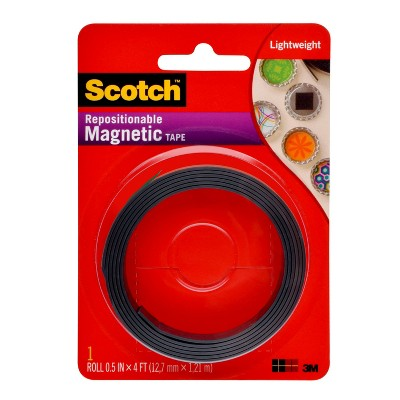 "Scotch .5"" x 4' Repositionable Magnetic Tape - Black"