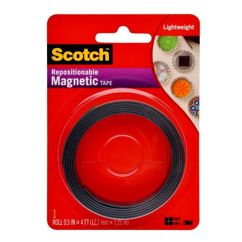 Scotch™ Magnetic Tape, Black, 1/2 in x 4 ft - image 1 of 6