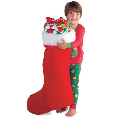 """HearthSong Super-Sized 31½""""L x 14½""""W Red Velveteen Christmas Stocking with White Fur Cuff for Kids' Gift-Giving and Christmas Decor"""