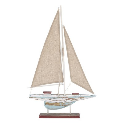 "22"" x 14"" Decorative Coastal Pine Wood and Linen Sailing Boat Sculpture - Olivia & May"