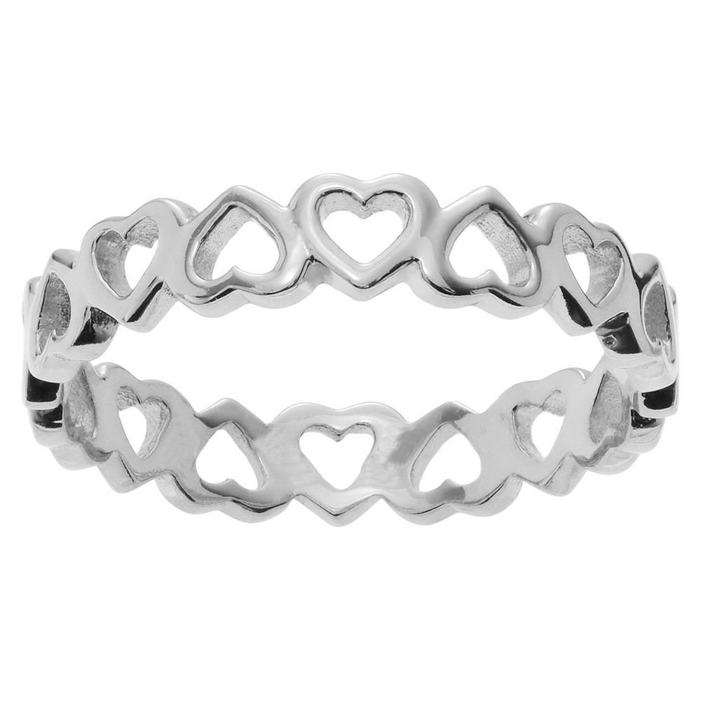 Journee Collection Heart Band in Sterling Silver - Silver, 8, Girl's